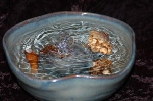 Cat Fountain or Tabletop Fountain in Blues and Tan
