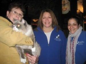 Alice de Almeida of The Algonquin Hotel, Matilda III, Devera Lynn, VP Communications for NSALA, and on the right is Dorit Shevach, Feline Behaviorist for NSALA