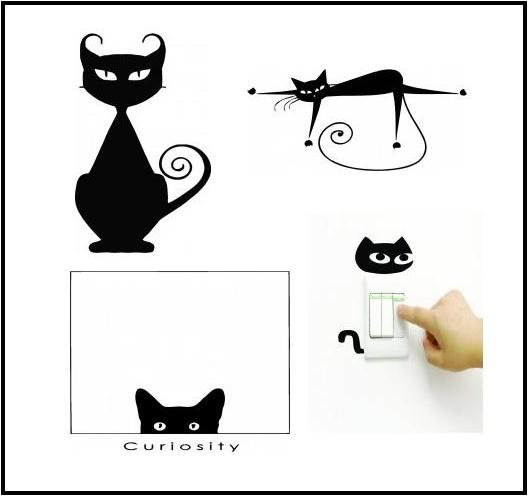 cat wall decals vinyl wall decal 3 cute cats wall decals