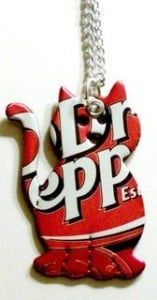 Recycled Soda Can Dr Pepper Cat Necklace