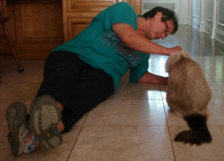 Holly Jacobs, animal communicator, and Murphy