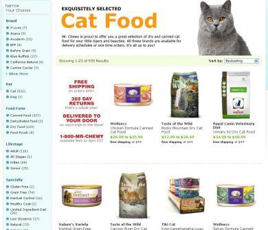 MrChewy.com Cat food page