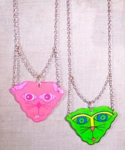 Kitty Face necklace-silver chain