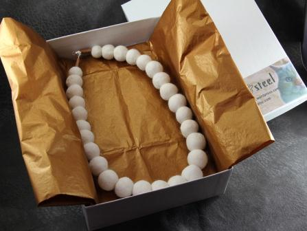 """The finished """"pearl"""" necklace"""