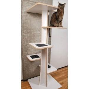 Square Cat Habitat Modern Cat Furniture Baobab Modern Cat Tree in Eco-Friendly White Laminate and Black Mohair