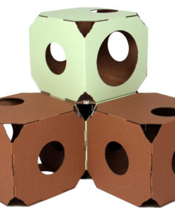 Catty Stacks 4 box green brown cropped