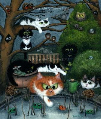 "~ 'Sleepy Kitty Hollow' Commission ~ Size: 11x13"""