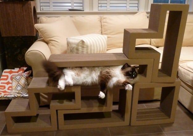 Katris Modular Cardboard Cat Scratcher Furniture Review by Floppycats6