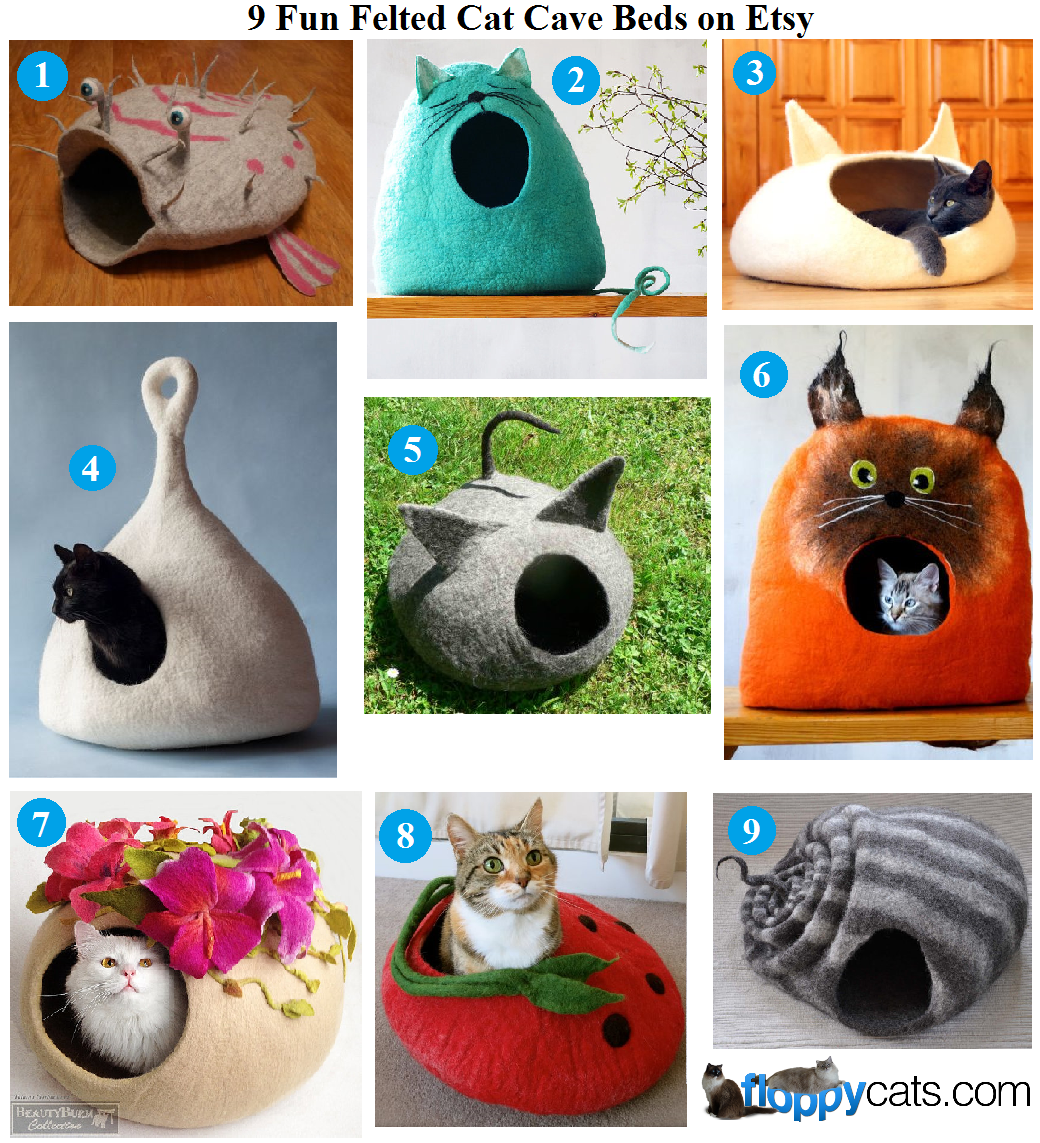 10 fun felted cat cave beds on etsy - Felted wool cat bed pattern ...