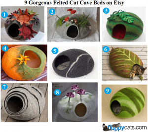 9 Gorgeous Felted Cat Cave Beds on Etsy