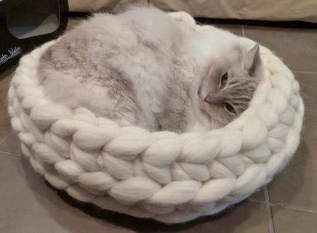 Chunky Knitted Cat Bed from Jennys KnitCo on Etsy