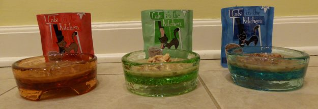 PawNosh Cubby Mini Glass Bowl Product Review Colors are Great for figuring out which foods your kitty likes