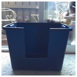 High Sided Litter Box Made from a Storage Container