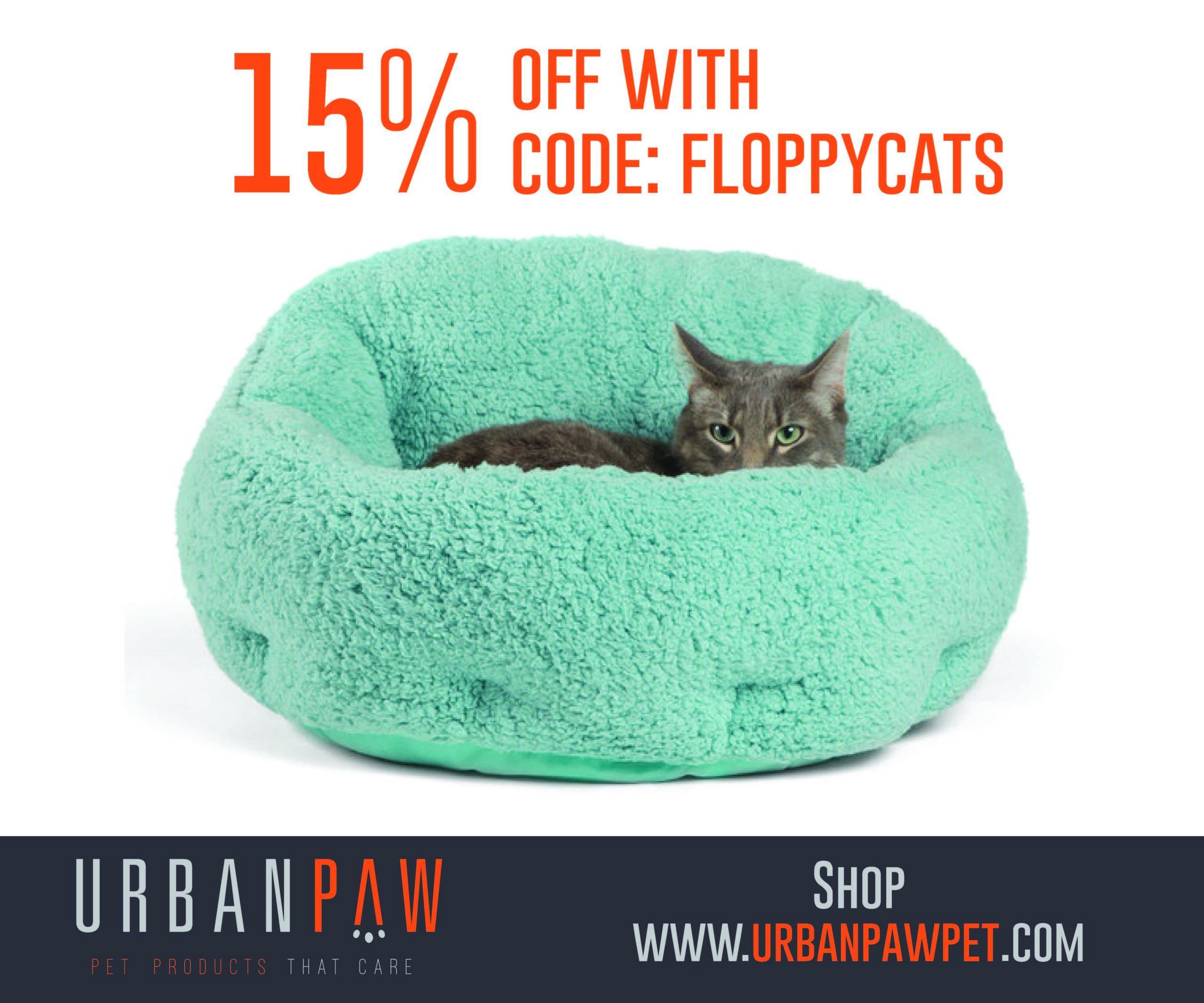 """The Urban Paw coupon code, """"FLOPPYCATS"""" will give you 15% Off on Urban Paw's website"""