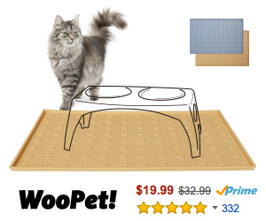 "WooPet! Pet Food Mat 24""x16"" Extra Large, Premium Silicone Food Safe Cat or Dog Feeding Mat"