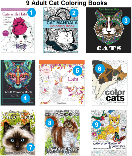 9 Adult Coloring Books Featuring Cats