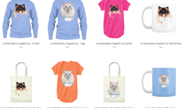 Ragdoll Cat T-Shirts Onesies Mugs and Totes in Floppycats Store