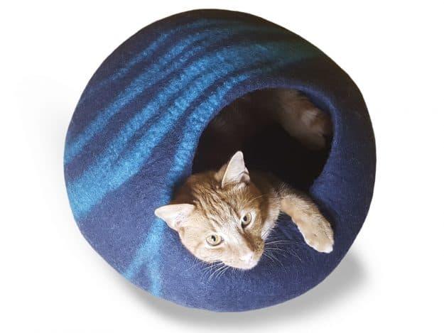 Meowfia Premium Cat Bed Cave asphal aquamarine