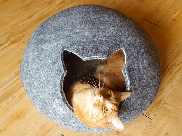 Meowfia Premium Cat Bed Cave with cat in cat-shape entrance