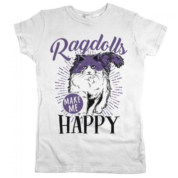 Ragdolls-Make-Me-Happy-Womens-Jr-Slim-Fit-Tee-White