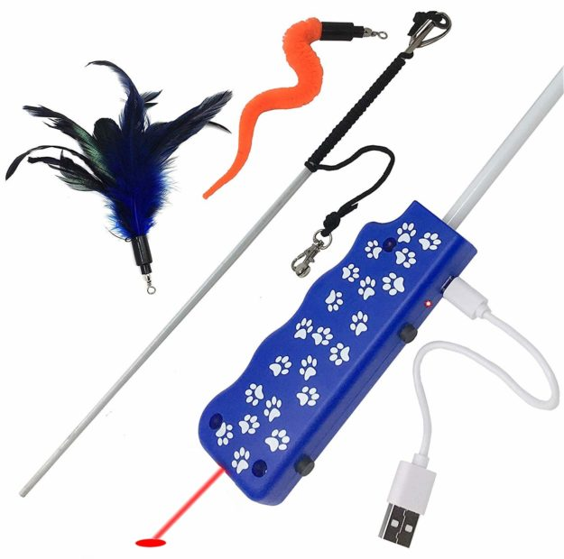 Pet Fit For Life Feather Squiggly Worm Cat Wand and Light Chaser Combo Toy W Bird Chirping Call to Action
